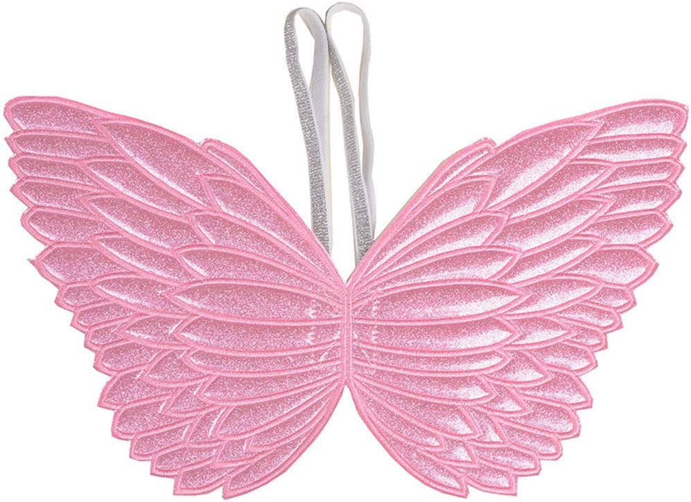 Ohnanana Glitter Butterfly Fairy Wings for Girls, for Garden Parties Birthday Favors Halloween Costumes Dress Up 2-5 Years Old (Shinny Pink Glitter)