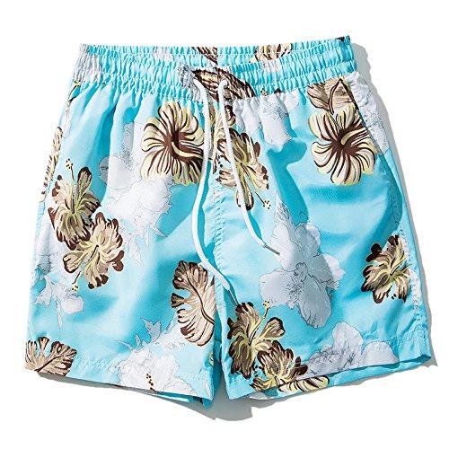OME&QIUMEI Beach Pants Men& 039;s Grün Printing Speed Dry Shorts Hose Slim Komfortable Shorts