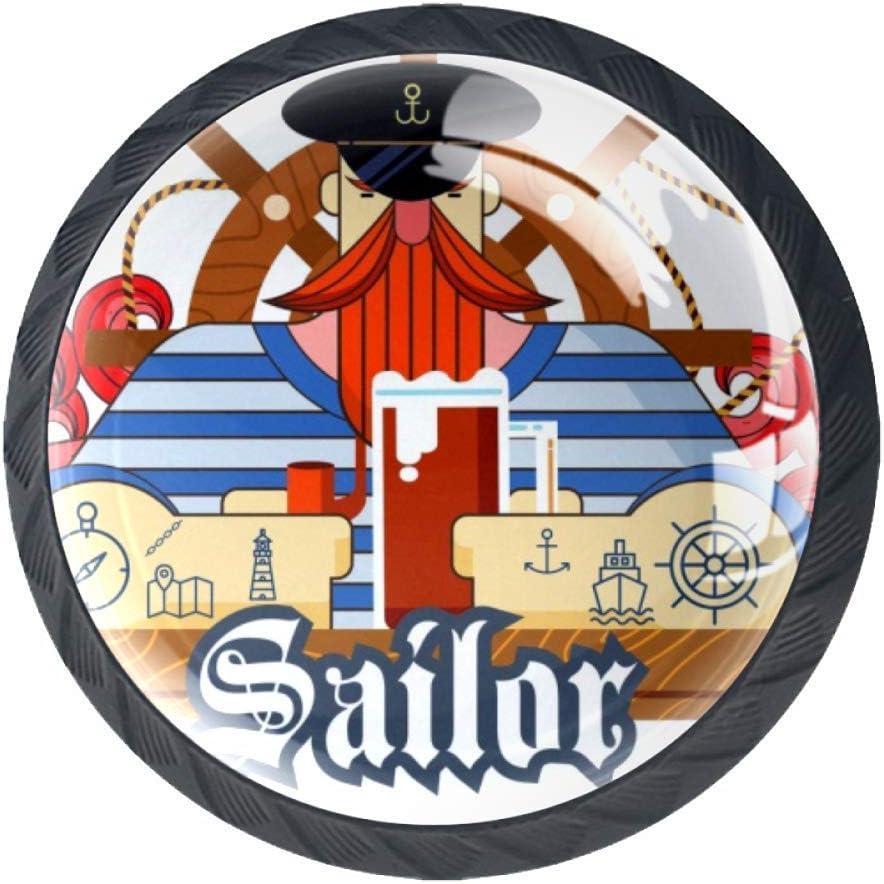 Pomo redondo de cristal para gabinete de gabinete, tiradores de cajón, dormitorio, baño, gabinete de marinero, icono de hombre, Sailor Icon Cerveza, 3.5×2.8CM/1.38×1.10IN