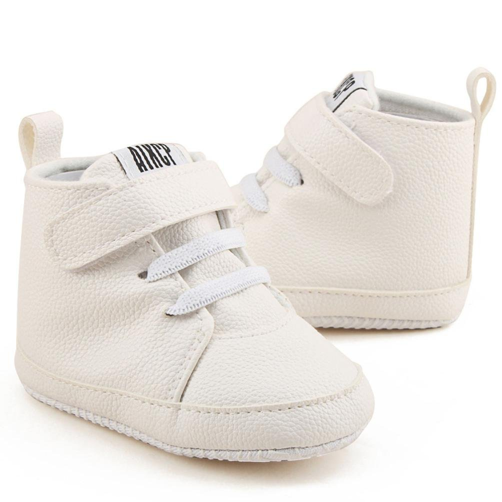 KONFA Toddler Infant Baby Boys Girls High Top Leather Sneakers,for 0-18 Months,Fashion Prewalker Soft Sole Crib Shoes