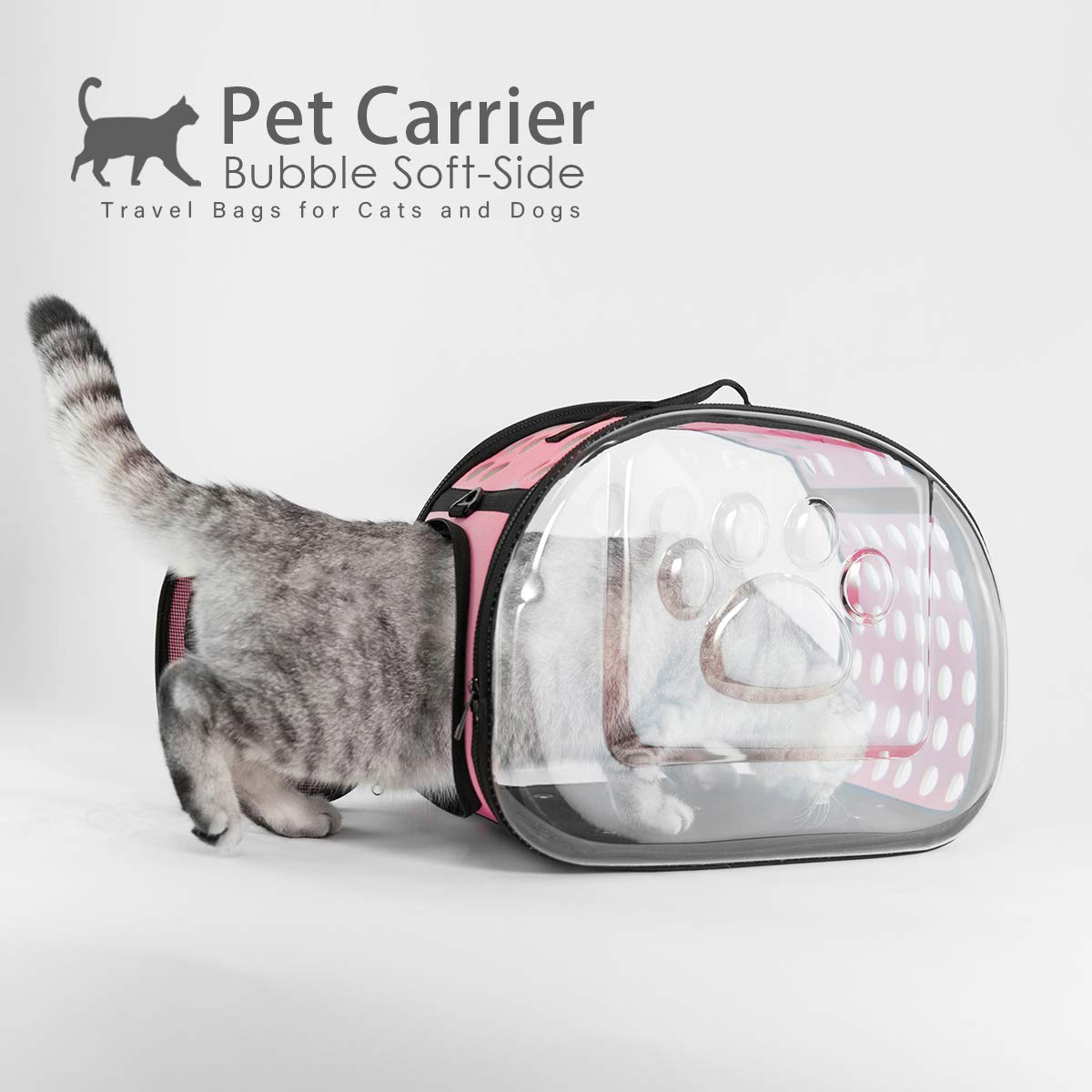 Collapsible Clear Tote for Small Animals,Airline Approved Transparent Pet Carrier Bag Breathable Portable Traveling Camping Hiking Outdoor Bags AVAFORT Soft-Side Cat Dog Carrier