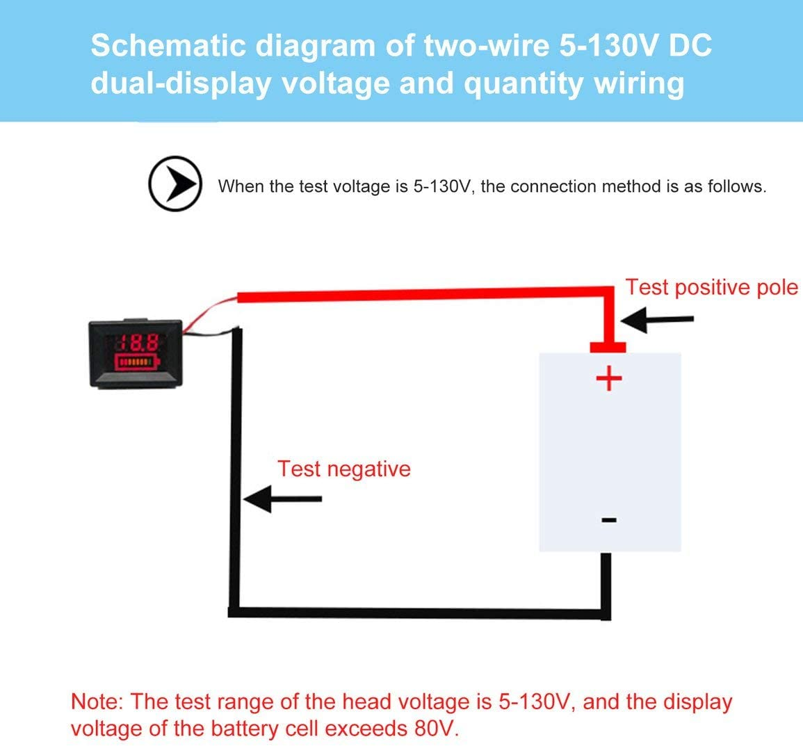 0.36inch 5-130V Indicateur du Niveau de Charge de la Batterie Testeur de Batterie Capacit/é de Batterie au Lithium Compteur LED Testeur Voltm/ètre Double Affichage Couleur: Rouge
