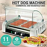 Senrob Electric 30 Hot Dog 11 Roller Grill Cooker Machine 2200-Watt with Cover for Commercial and Household Uses