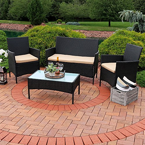 Sunnydaze Enmore Wicker Rattan 4-Piece Lounger Patio Furniture Set with Tan Cushions (Wicker Furniture Front Porch)