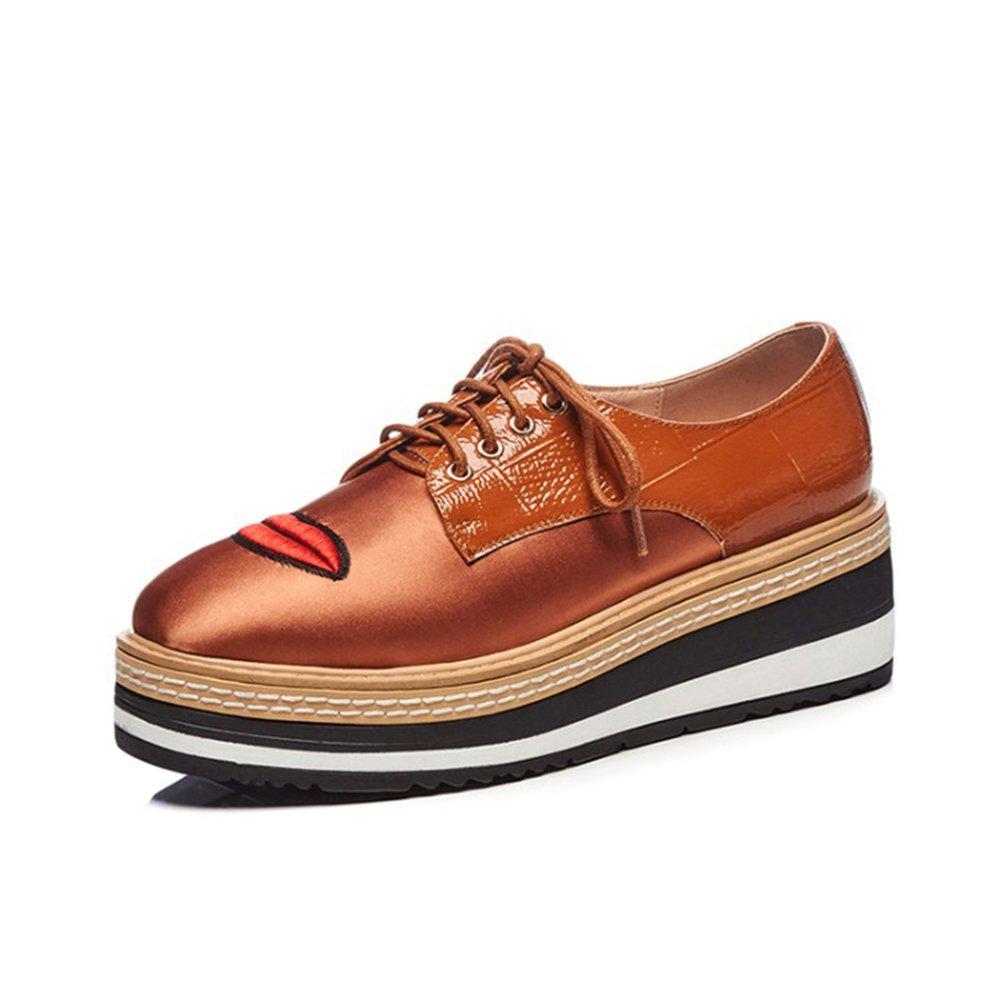 Woherren Casual Flache Loafers Single Schuhe Freizeitschuhe Dick-Boden Steigung mit Frauen Schuhe Casual Stickerei rot Lip Wasserdichte Plattform Damen vorne Gurt Singles Schuhe