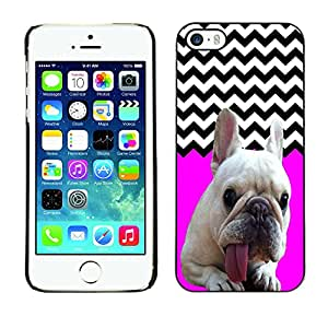 - FRENCH BULLDOG Chevron - - Monedero pared Design Premium cuero del tir¨®n magn¨¦tico delgado del caso de la cubierta pata de ca FOR Apple iPhone 5 5S Funny House