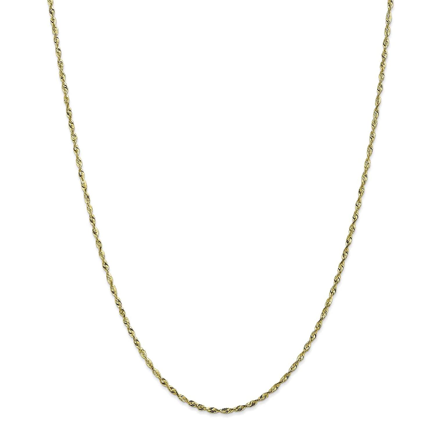 Leslies 10K Yellow Gold 1.8mm Lightweight Diamond-cut Rope Chain Bracelet 7-30
