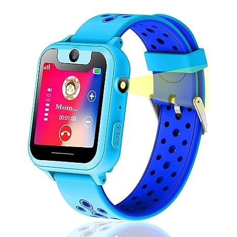 Niños Inteligente Relojes, Niños GPS Smartwatch con Rastreador GPS y Soporte SIM GSM Pantalla Táctil