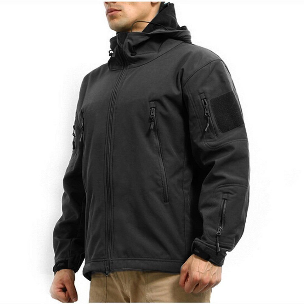Men's Army Outdoor Military Special Ops Softshell Tactical Hooded Jacket Hunting Jacket,Black,US L ( Tag XL)