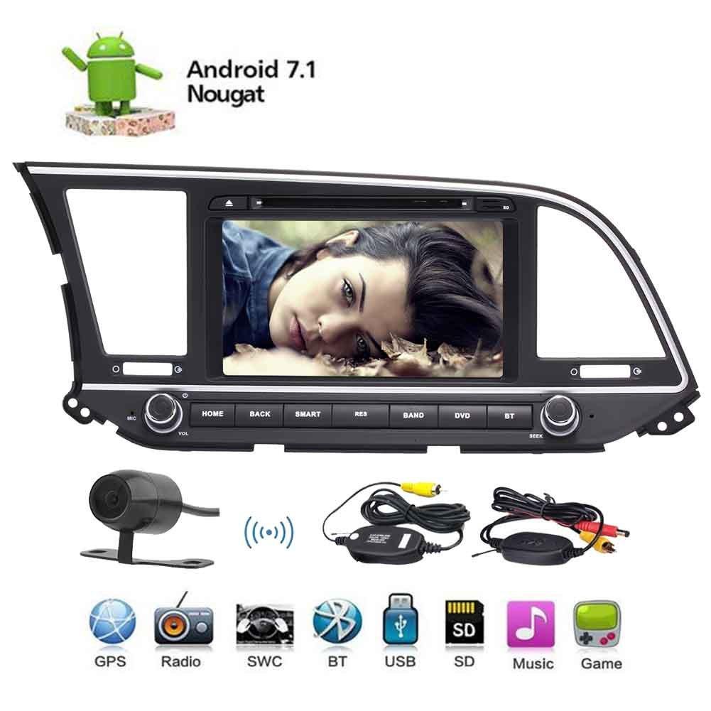8  Android 7.1 Nougat Bluetooth Car Stereo Radio for Hyundai Elantra 2016 Head Unit Car Audio GPS Navigation DVD Player 1024*600 Touchscreen Double Din WiFi Mirror Link SWC SD USB+Wireless Camera B076P74MYQ