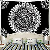 Racunbula Mandala Tpaestry Black and White Bohemian Tapestry Psychedelic Hippie Tapestry Wall Hanging for Living Room Bedroom H51.2× W59.1inches