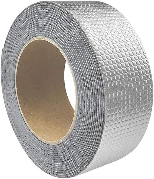 Adh/ésif professionnel puissant en ruban de caoutchouc butyle pour papier daluminium correctifs imperm/éables 1 Pcs auto-adh/ésif 5 mx 50 mm bitume argent r/ésistant aux intemp/éries