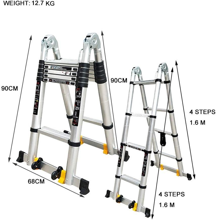 Escalera escamoteable Escalera de aluminio, 440 Lb Gran capacidad ...
