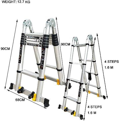 Escalera escamoteable Escalera de aluminio, 440 Lb Gran capacidad de carga, A-Tipo de la extensión doblada en una escalera larga, industrial compacto Loft Escalera diarias del hogar o de uso de emerge:
