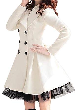 best sneakers 1fc83 d5a20 Flabor Damen Mantel Winter Elegant Wintermantel Damen lang Trenchcoat  schwarz Wollmantel Winterjacke zweilagiger Saum Outwear