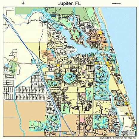 Map Of Florida Showing Jupiter.Amazon Com Large Street Road Map Of Jupiter Florida Fl Printed
