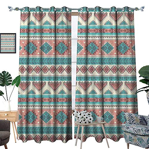 Tribal Patterned Drape for Glass Door African Vintage Design Native Ethnic Style Artsy Geometric Triangles Print Waterproof Window Curtain Cream Aqua and ()