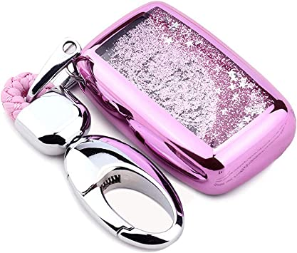 Pink YIJINSHENG TPU Car Key Soft Plating Protection Shell Case Cover for Land Rover Jaguar Evoque,Velar,Sport,Discovery 5-Button Smart Key Remote Fob Shell Key Chains