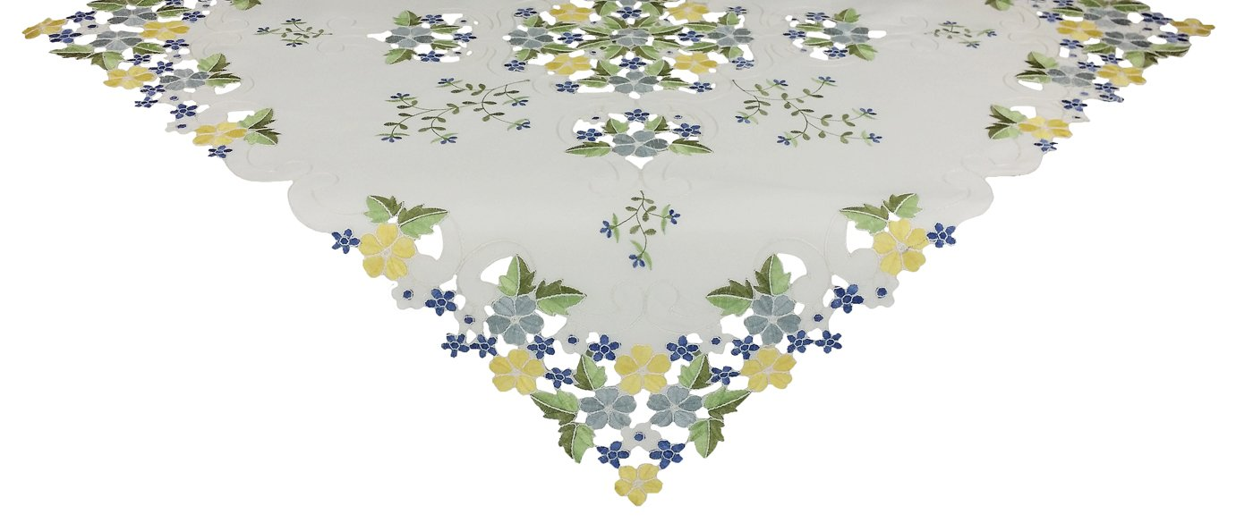Xia Home Fashions Fancy Flowers Embroidered Cutwork Spring Table Topper, 34 by 34-Inch, Blue
