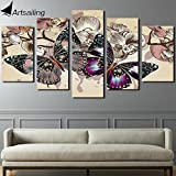 Oil Paint Canvas HD Printed Canvas Art Flower Butterfly Painting 5 Pieces Paintings Wall Pictures For Living Room