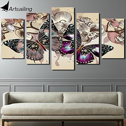 Oil Paint Canvas HD Printed Canvas Art Flower Butterfly Painting 5 Pieces Paintings Wall Pictures For Living Room by Garth