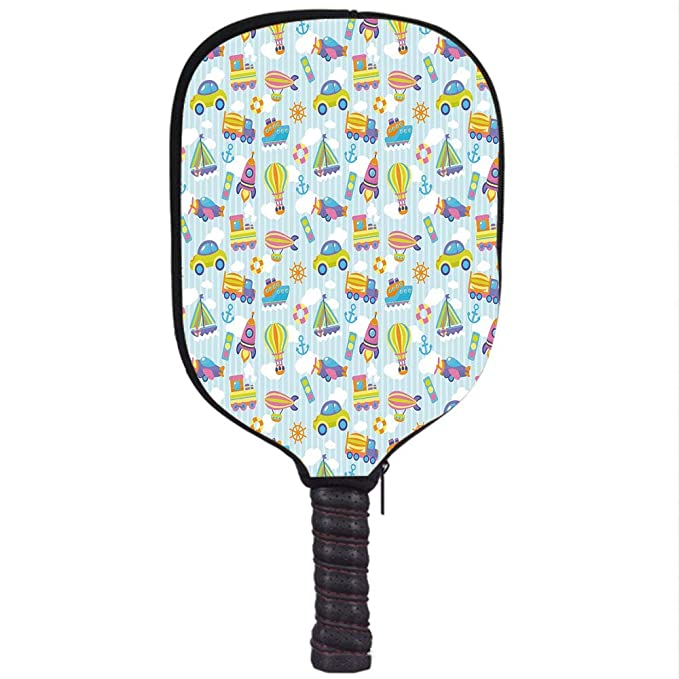 Amazon.com : Neoprene Pickleball Paddle Racket Cover Case, Kids, Transportation Themed Toy Vehicles and Icons Pattern on Stripes and Fluffy Clouds ...
