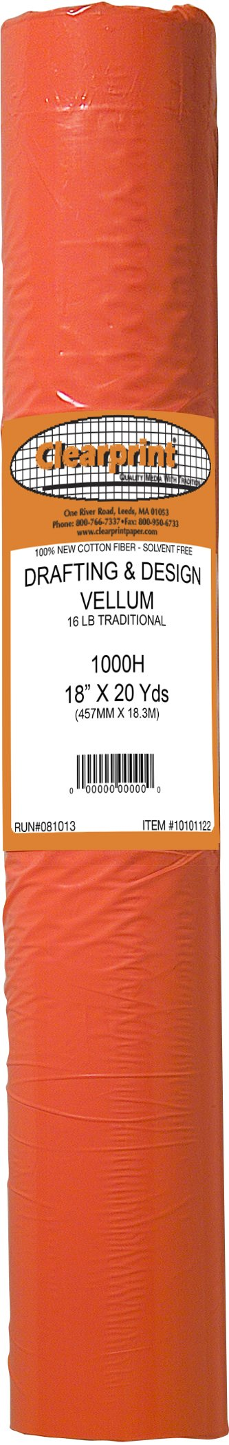 Clearprint 1000H Design Vellum Roll, 16 lb, 100% Cotton, 18 Inches W x 20 Yards Long, Translucent White, 1 Each (10101122)