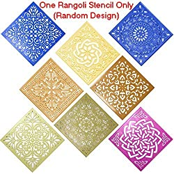 "Classic Rangoli Stencil (Large 12"" x 12"" Size) Floral Abstract Flower Designs For Diwali Laxmi Pooja, Holi Colors, Ganesh Puja, Floor Decor, Mandana Art Decoration + Max Supermarket 5% Savings Coupon"