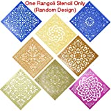 Classic Rangoli Stencil (Large 12'' x 12'' Size) Floral Abstract Flower Designs For Diwali Laxmi Pooja, Holi Colors, Ganesh Puja, Floor Decor, Mandana Art Decoration + Max Supermarket 5% Savings Coupon