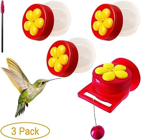 3, RED CHILIPET 3-Pack Plastic Red Flowers Hummingbird feeders