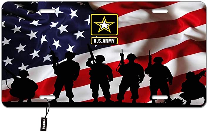 Beabes US Army Front License Plate Cover,Soldiers Holding Machine Guns and American Flag Decorative License Plates for Car,Aluminum Novelty Auto Car Tag Vanity Plates Gift for Men Women 6x12 Inch