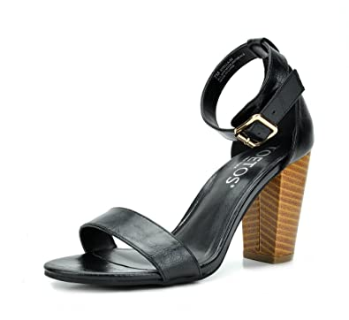 1ec62d79dff TOETOS Women s Stella-02 Black Pu Open Toe Mid Chunky Heel Pump Sandals - 5