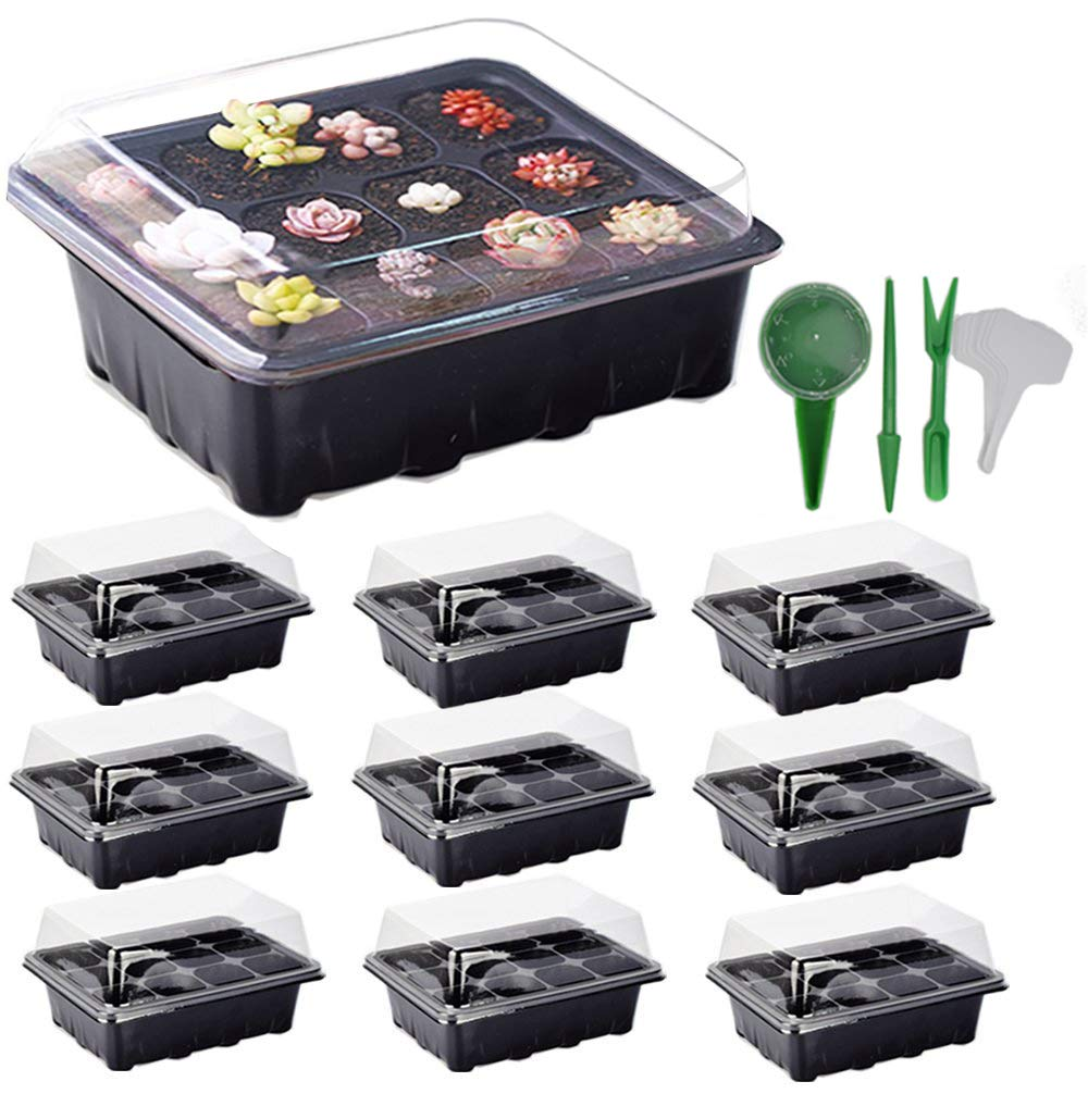 ARMRA 10 Set Seed Trays Garden Plant Seedling Starter Germination with Drain Holes Efficiently Transfers Heat Promotes Root Growth with Labels Hand Tool Kit (10 Trays, 12-Cells Per Tray) Ideas by ARMRA