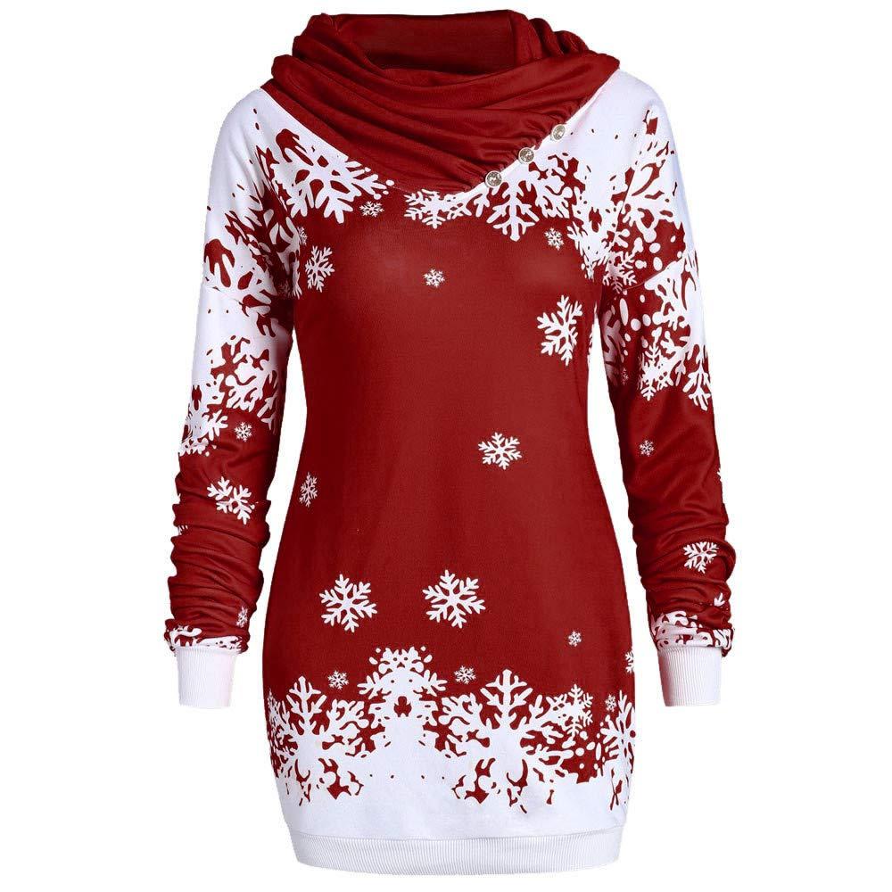 Honestyi_Womens Fashion Merry Christmas Snowflake Printed Tops Cowl Neck Sweatshirt Long Sleeve Coat Winter Warm Wool Pockets Cotton Outwear