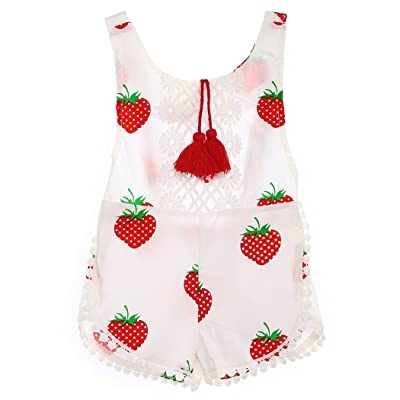 FUNOC Newborn Baby Infant Girls Sleeveless Tassles Fruit Printed Romper Sumsuit Outfits0-3Y