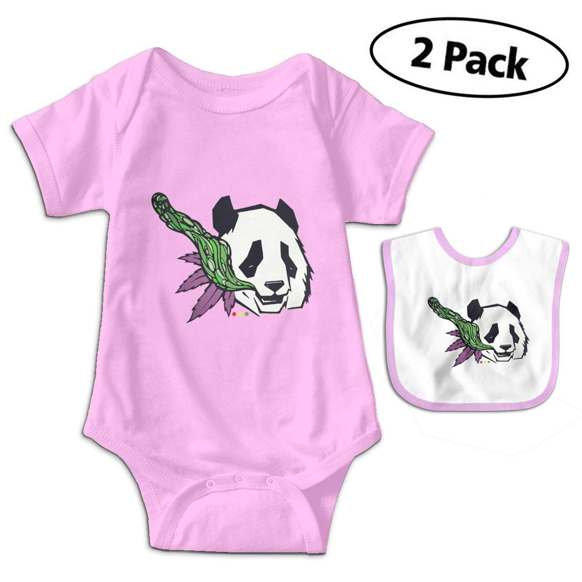 Panda Bear Weed Leaf Newborn Unisex Baby Cotton Bodysuits Rompers Outfits