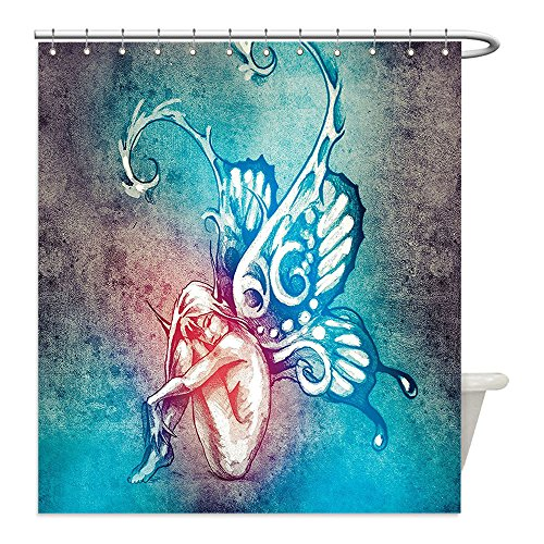 Liguo88 Custom Waterproof Bathroom Shower Curtain Polyester Butterflies Decorations Fairy with Butterfly Wings Renewal Female Rebirth Psyche Lightness of Being Decor Blue Purple Decorative (Psyche Costume)