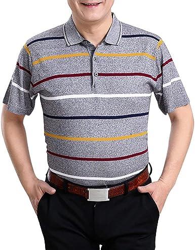 Camisas De Golf Ocasionales Respirables del Verano De Los Ropa Hombres Camisa Básica De La Manga Corta Que Hace Punto Las Camisetas De La Raya Regalo del Papá: Amazon.es: Ropa y accesorios