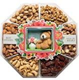 LARGE Gourmet Nuts Gift Basket with Miniature Teddy & Flowers Top Gift Idea for Men, Women, & Family (Mini Wishes)