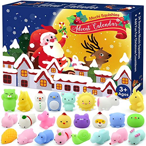 LUDILO Christmas Advent Calendar 2019 Countdown Calendars Toys for Kids Christmas Mochi Squishy Toys 24Pcs Different Cute Mochi Animals Relief Stress Toys Unique Advent Calendars for Girls Boys