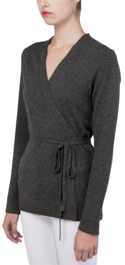 100% Pure Mongolian Cashmere Wrap Cardigan For Women (Graphite, XS)