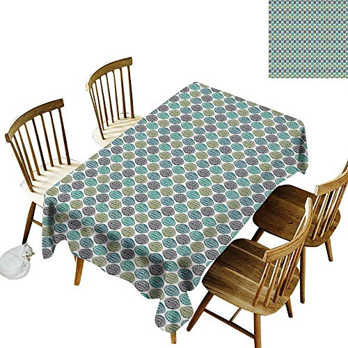 Scouts Green Swirl Girl - Cranekey Spotted Rectangular Tablecloth W60 x L84 Geometric Geometric Oval Shapes Various Styles Lines Swirls Ethnic Tribal Sea and Olive Green Black Great for Party & More