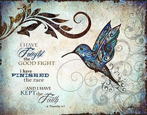 Art Matte Giclee (Inspirational Hummingbird I Have Fought The Good Fight, I Have Finished The Race and I Have Kept The Faith, Religious Decor; One 20x16in Fine Art Giclee Print)