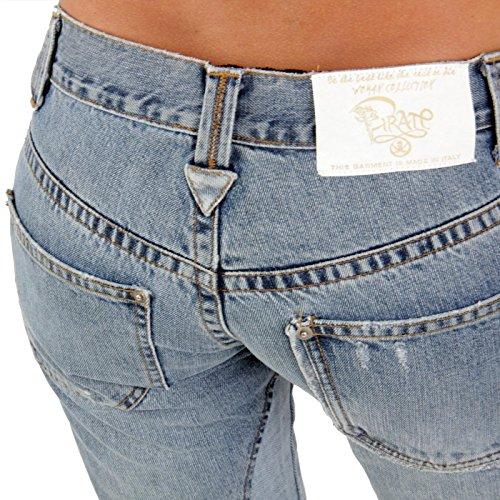 PIRATE Damen Jeans Hose Straight Leg Vintage Blue Größe 30