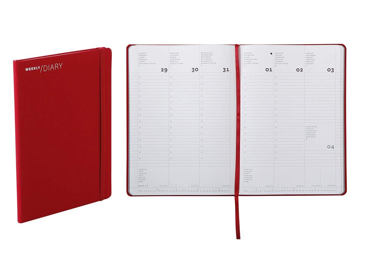 Agenda 2020 settimanale chiusura a elastico 17 /× 24 cm colore rosso