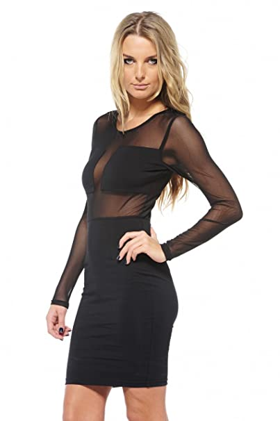 c993b1e997b AX Paris Women's Mesh Long Sleeve Fitted Black Dress