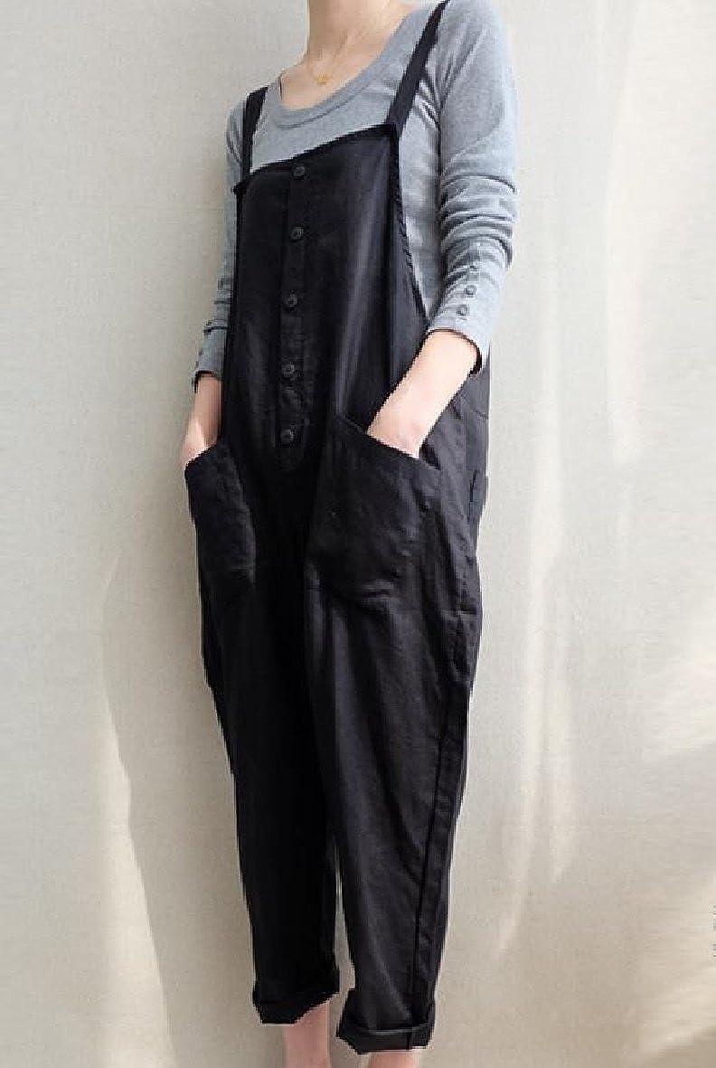 Zimaes-Women Plus Size Breathable Pockets Solid Color Button Bib Pants