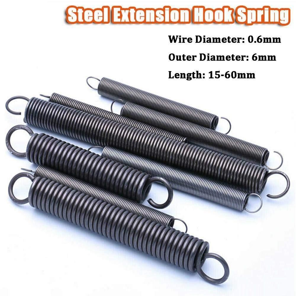 Draht 0,6 mm Au/ßendurchmesser 6 mm 10Pcs Stahl Zugfeder mit Haken Small Zugfeder L/änge 15-60mm Durchmesser NO LOGO F-Jiujin Gr/ö/ße : 0.6 x 6 x 15mm