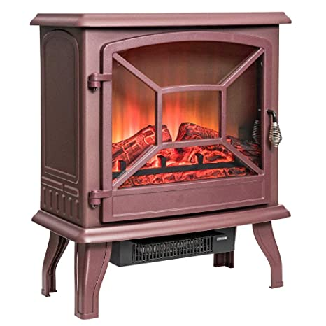 Amazon Com 20 Brown Electric Fireplace Portable Freestanding