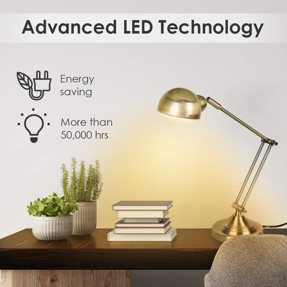 LED Desk Lamp – Brass Desk Lamps, 7W Energy-Saving, 350 Adjustable Arm, Eye-Caring, Touch Control, Vintage Antique Table Lamps, Dimmable Gold Desk Lamp for Office, Work, Reading, Study